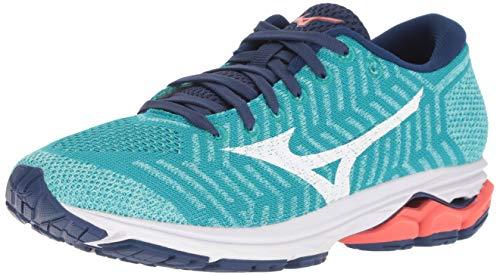 Mizuno Damen Wave Rider 22 Knit Running Shoe, Laufschuh, Pfauenblau-feurige Koralle, 43 EU