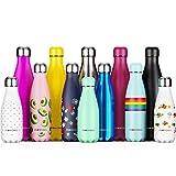 Proworks Bottiglia Acqua in Acciaio Inox, Senza BPA Vuoto Isolato Borraccia Termica in Metallo per Bevande Calde per 12 & Fredde 24 Ore, Borraccia per Sport - 500ml Blu Puro (Coperchio d'Argento)