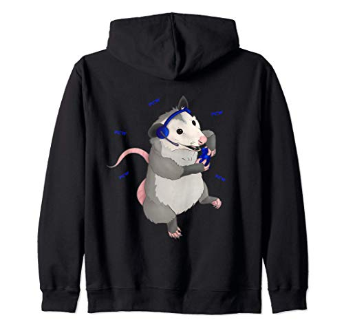 Gamer possum playing video games Zip Hoodie