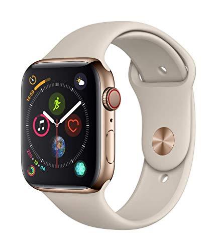 AppleWatch Series4 (GPS+Cellular) con caja de 44mm de acero inoxidable en oro y correa deportiva en color piedra