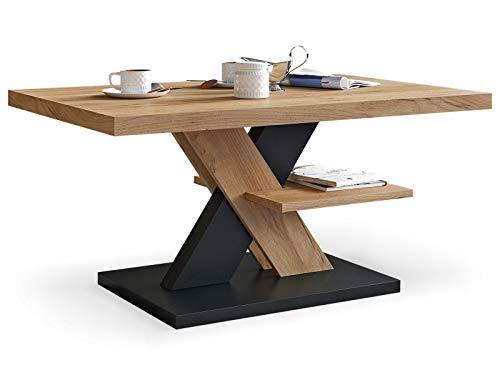 Viosimc Table Basse de Salon Chêne et Noir avec étagère, Table Centrale Blanche Moderne et élégante pour thé et Le café. Design épuré et Un Choix Parfait - Un ajout élégant à n'importe Quel Salon
