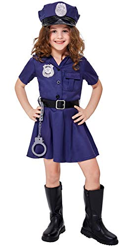 Girls' Police Officer Costume Halloween Cop Kids Dress Up Outfits Set Navy Blue 7-8 Years