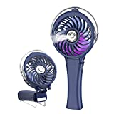 HandFan Portable Handheld Misting Fan, Rechargeable Personal Mister Fan with 7 Colorful Nightlight, Battery Operated Spray Water Mist Fan, for Travel, Outdoors, Hiking, Camping(Royal Blue)