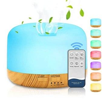 DASIAUTOEM Humidificador 300ML, Humidificador Aromaterapia Ultrasónico, Aromas Silencioso Difusor purificador de aire con Control Remoto 7 Colores LED para Hogar Bebé SPA Yoga Cuarto Oficina Hotel