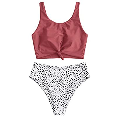 Material: Nylon,Polyester,Spandex Our Size: S--US 4, M--US 6, L--US 8,XL--US 10,2XL--US 12 Padded Bra, Wire Free , Leaf Print This two pieces bikini features a solid tank style top with a cute knot front to enhance the solid bodice and the tropical l...