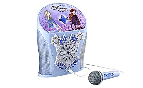 eKids Disney Frozen Karaoke Machine, Bluetooth Speaker w/ Microphone for Kids, Speaker w/USB Port