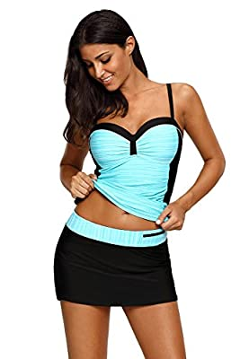 Top quality shoulder strap color blocked printed tankini swimwear 82%Nylon+ 18%Spandex,quick-dry fabric Tankini top with unremovable built-in padded Bra Occasion: summer swimwear, beachwear, party, vacation Swimsuits S(US SIZE 4-6) / M(US SIZE 8-10) ...