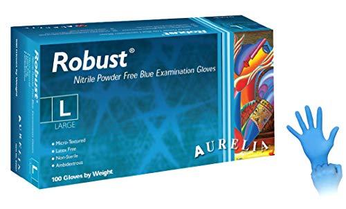 Aurelia Robust Guanti in Nitrile Monouso, 100 Pezzi Box Senza Polvere, Colore Blu, Misua L