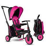smarTrike STR3 Folding Toddler Tricycle with Stroller Certification for 1,2,3 Year Old - 6 in 1 Multi-Stage Trike, Pink