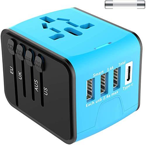 Adaptateur de Voyage Universel EXTSUD Chargeur de Voyage avec 3 Ports USB...