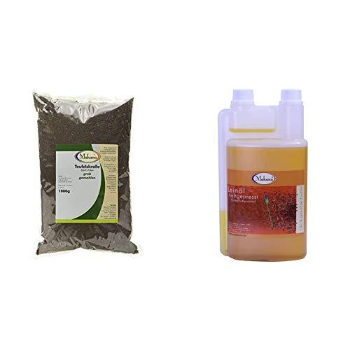 Makana Teufelskralle, gemahlen, 1 kg Beutel (1 x 1 kg) & Leinöl für Tiere, kaltgepresst, 100% rein, 1000 ml Dosierflasche (1 x 1 l)