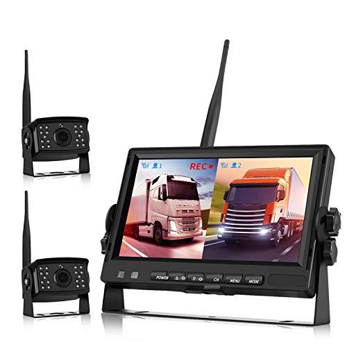 Kit Telecamera Retromarcia Wireless, Telecamera Auto Wireless,Sistema di AHD Digitale Dual Cam Registrazione Video DVR Monitor da 7 Pollici per Autobus,Camper Visione Notturna 12V-24V