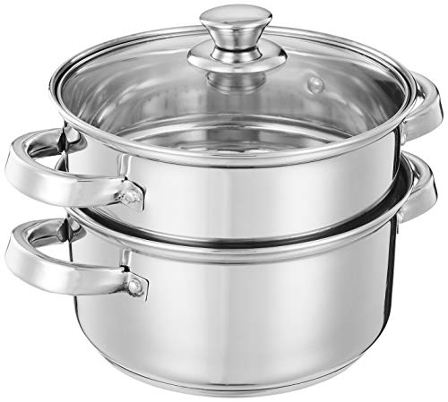 Amazon Brand - Solimo Stainless Steel Induction Bottom Steamer/Modak/Momo Maker with Glass Lid (2...