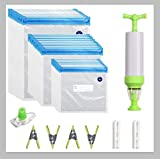 Reusable Sous Vide Bags Kit for Anova/Joule Cookers, 30 BPA Free Food Vacuum Sealed Bags, 1 Hand Pump, 2 Sealing Clips, 4 Sous Vide Bag Clips,1 Wine Bottle Stopper for Sous Vide Cooking, Food Storage