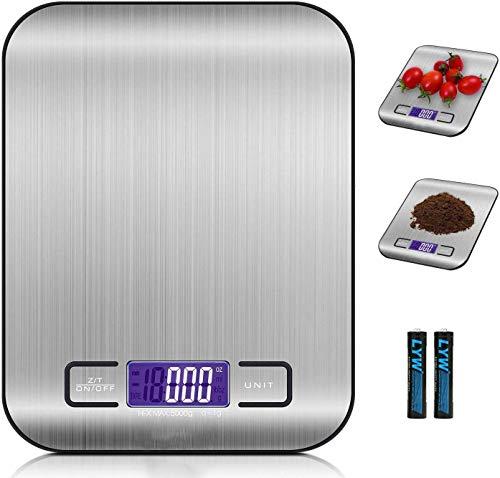 Bilancia da Cucina Smart Digitale con Funzione Tare,5kg/11 lbs Professionale Acciaio Inox Alta...