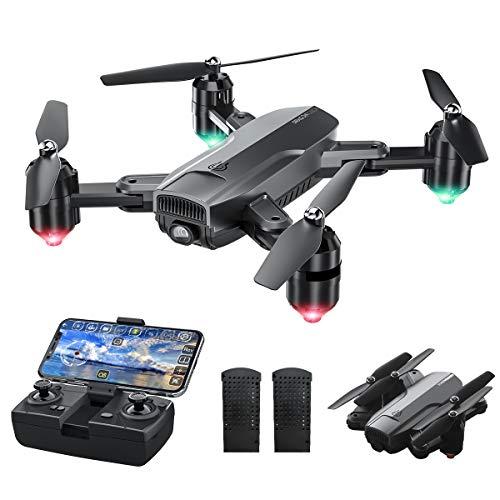 Dragon Touch Drone Pieghevole WiFi, WiFi FPV Drone con Telecamera HD 1080P, RC Quadricottero con sensore di gravit, modalit Senza Testa, decollo / atterraggio con Una Chiave