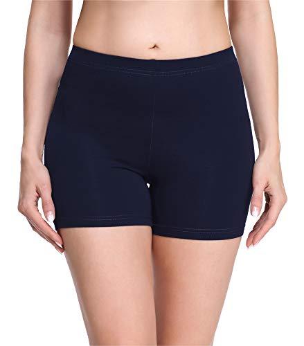 Merry Style Damen Shorts Radlerhose Unterhose Hotpants Kurze Hose Boxershorts aus Viskose MS10-283(Marineblau,S)
