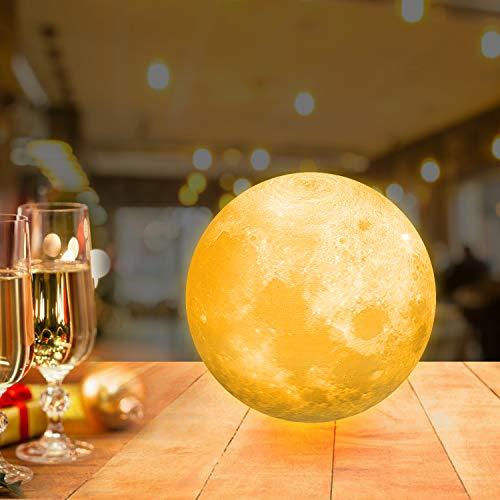 12cm Mondlampe mit Fernbedienung,OxyLED Farbige Dekoleuchte 3D Mond Kunst LED RGB Mondlampe...