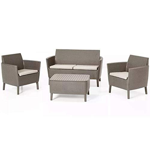 Keter Salemo Lounge Set, Set Mobili da Giardino in Rattan con Divano 2 Posti 2 Poltrone e Tavolino Porta Cuscini, Cappuccino