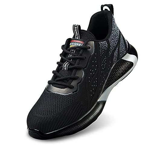 Tenis de Seguridad Hombre Botas de Trabajo Mujer Botas de Seguridad Botas Puntera de Acero Botas de Seguridad Calzado de Seguridad Deportivo Verano Zapatos de Seguridad para Hombre (Gris 42)