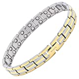 MagnetRX® Women's Ultra Strength Magnetic Therapy Bracelet - Arthritis Pain Relief & Carpal Tunnel Titanium Magnetic Bracelets for Women - Adjustable Length with Sizing Tool (Silver & Gold)