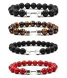 VANGOT 4Pcs Dumbbell Beaded Bracelets for Men Women Lava Stone Bracelet Set Elastic Silver Tone
