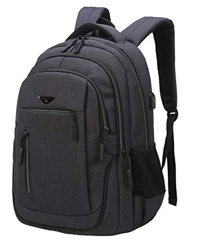 Laptop Rucksack, Schulrucksack Jungen Teenager mit USB Ladeanschluss Daypack Business Taschen für Herren Rucksack Schule Arbeit Reisen (01 Dunkelgrau, 17,3 Zoll)