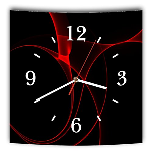 Homeyourself LAUTLOSE Designer Wanduhr mit Spruch Schwarz rot Abstrakt modern grau weiß modern Dekoschild Abstrakt Bild 29,5 x 28cm