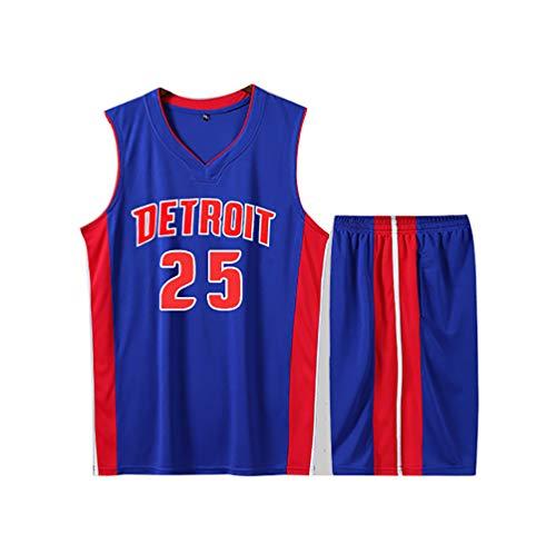 LJWLCH Geschenk für Derrick Rose Fans No.25 Basketball Jersey Kinder Jungen Männer weißen Anzug Gym Anzug Sport Weste Shorts 2-teiliges Damen Sweatshirt blau grau Jugend-Blue-XL