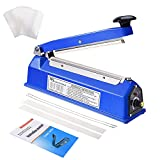 Suteck 8 inch Impulse Bag Sealer, Manual Poly Bag Sealing Machine w/Adjustable Timer Electric Heat Seal Closer with 50Pcs 4X6 Inch Shrink Wrap Bag and 2 Free Replacement Kit (Sapphire)