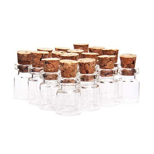 HugeStore, 50 botticini vuoti in vetro trasparente, con 10 viti a occhiello, per messaggi augurali, adatti a compleanni e matrimoni