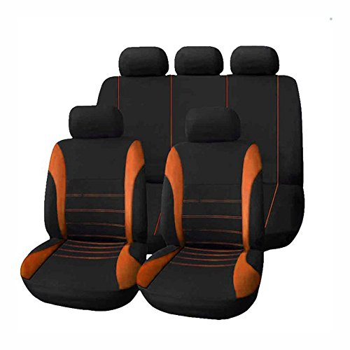 KKmoon Universeller Autositzbezug mit Stoffbezug und Vierjahreszeiten-Autodekoration (9er-Pack) Orange