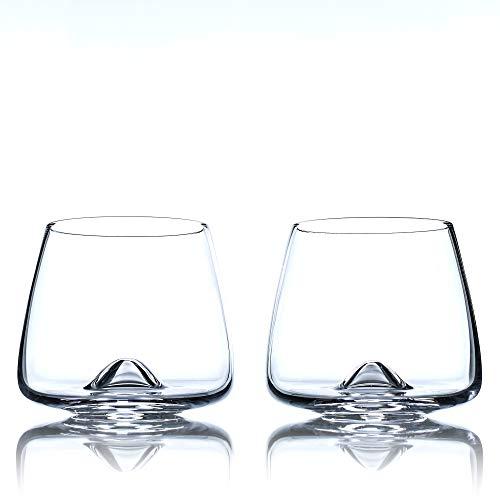 Greenline Goods Whiskey Glasses Set | Large 14 oz Crystal Glass | Hand Blown Set of 2 - Uniquely Designed Bourbon & Scotch Tasting Glasses - Old Fashioned Cocktail Rocks Wisky Glasses