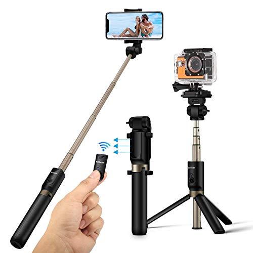 Perche Selfie Trépied avec Télécommande, BlitzWolf 4 en 1 Perche Selfie...