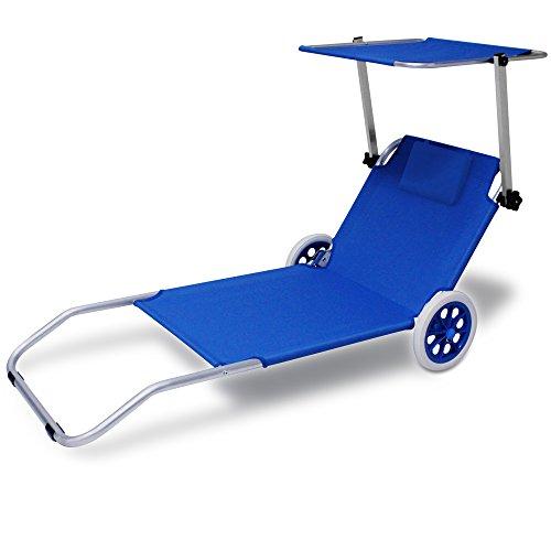 Deuba Alu Strandliege Kreta mit Dach klappbar 2 Räder Sonnenliege Gartenliege Strandrolli Liege Farbauswahl blau