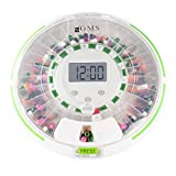 GMS 28 Day Automatic Pill Dispenser Dosage Reminder for up to 6 Alarms a Day with Flashing Light and Locked Cover - Standard Edition