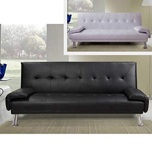 Divano letto ecopelle BIANCO o NERO da cm 194 sofa per soggiorno moderno per 3 persone modello...