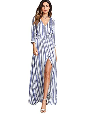 """Material: Polyester; V Neck, Half Sleeve A Line, Buttons Up, Flowy, Split, Striped Style Model Measurements: Height:173cm/5'8""""feet, Bust:89cm/35""""inches, Waist:60cm/24""""inches, Hip:90cm/35""""inches, Wear:L Care: Wash with cold water; Do not bleach or tum..."""
