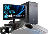 Rgdigital PC de sobremesa Intel Quad Core de 2.4 GHz Windows 10 Professional de 64 bits ATX/Ram 8 GB/H 1 TB/WiFi/entradas HDMI VGA DVI de Potencia 500 W + Monitor 24 Teclado LED y ratn USB a