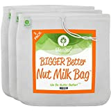 Pro Quality Nut Milk Bags - 3 Pk Large 12'X12' Reusable Nutmilk Bag - Commercial Grade All Purpose Strainer - Food Grade BPA Free Fine Mesh Nylon Cheesecloth Filter - Free Recipes & Vids
