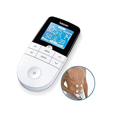 Beurer EM49 - Electroestimulador digital, para aliviar el dolor muscular y el fortalecimiento muscular, masaje, EMS, TENS, pantalla LCD azul, 2 Canales, 4 electrodos autoadhesivos, color blanco