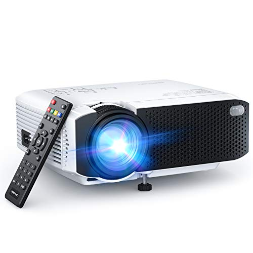 APEMAN Proiettore 5000 Lumen Mini Videoproiettore Portatile Doppio Altoparlante del LED Fino 50000 Ore Cinema Domestico Compatibile 1080P HDMI, USB, VGA, Mirco SD Supporto Android iOS TV Box