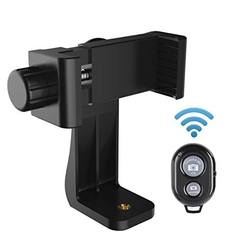AFAITH Cell Phone Tripod Mount with Remote, Phone Holder Adapter Selfie Monopod with Adjustable Clamp for iPhone Xs Max/X/8/8P/7/7P/6S/6,Samsung GalaxyS9/S9+/S8/S7/S6/S5/Note9/8 and More