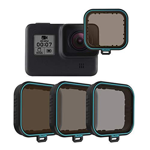 TELESIN - Filtro obiettivo GoPro, confezione da 4 filtri ND4, ND8, ND16, CPL, densità neutra per GoPro Hero 7 Black Hero 2018 Hero 6 Hero 5 nero, accessori per obiettivo fotocamera GoPro