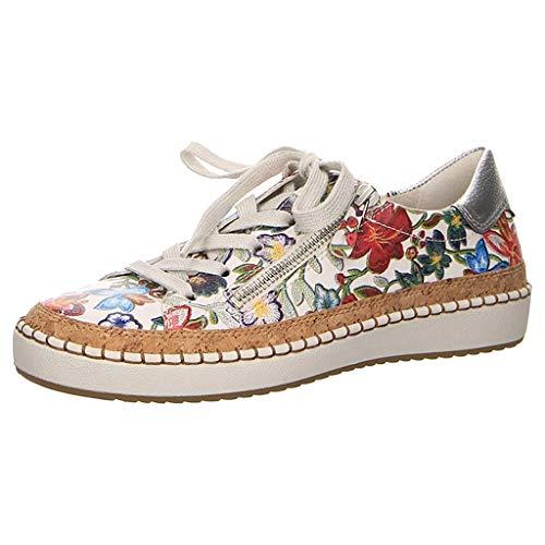 Harpily Zapatillas de Informal Mujers, Zapatos con Estamblado de Flores Calzado Cordones para Diaria Vida Fitness Casual Rojo 38
