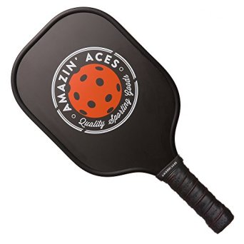 Amazin' Aces Graphite Pickleball Paddle   Racket Features Graphite Face & Honeycomb Polymer Core   Meets USAPA Specifications (Black)