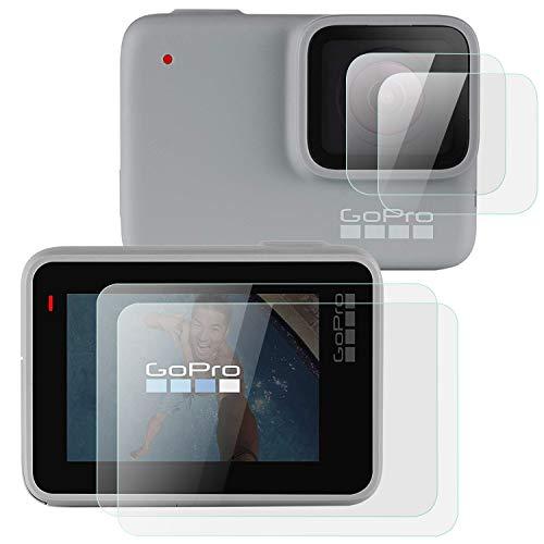 OOTSR (4 Pezzi) Protezione Schermo Compatibile con GoPro Hero 7 White/Hero 7 Silver, Proteggi Schermo in Vetro temperato + Proteggi Schermo Lente per GoPro Hero 7 Argento/Bianco, 2 Pezzi/cad