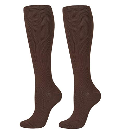CHIC DIARY Compression Socks for Women and Men (20-30mmHg)-Best for Running,Travel,Cycling,Pregnant,Nurse,Edema (Brown, S/M)
