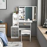 FUFU&GAGA Vanity Set Makeup Vanity Dressing Table with Sliding Mirror, 4 Drawers & Shelves, Dresser Desk and Cushioned Stool Set (White/Grey)