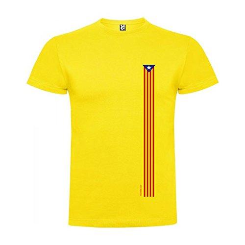 Camiseta Catalunya Estelada Clasica Manga Corta Hombre Amarillo S